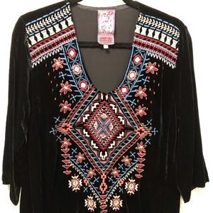 JWLA Johnny Was Embroidered Velvet Tunic